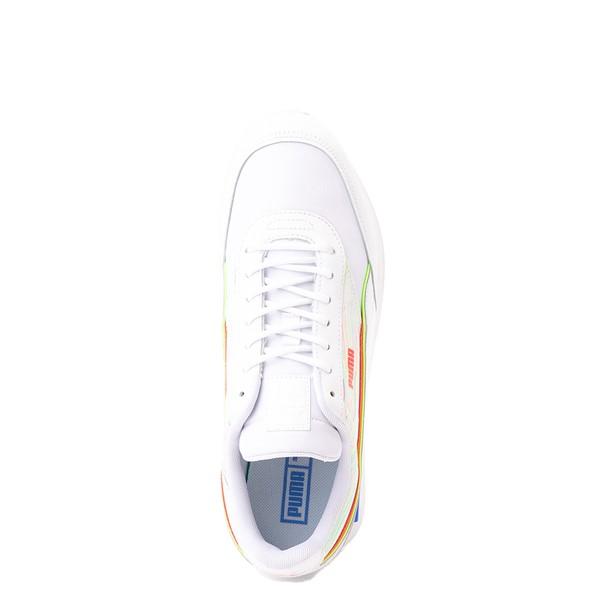 alternate view Mens Puma Future Rider Double Athletic Shoe - Spectra White / Sunblaze / Green GlareALT2