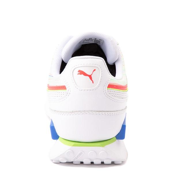 alternate view Mens Puma Future Rider Double Athletic Shoe - Spectra White / Sunblaze / Green GlareALT4