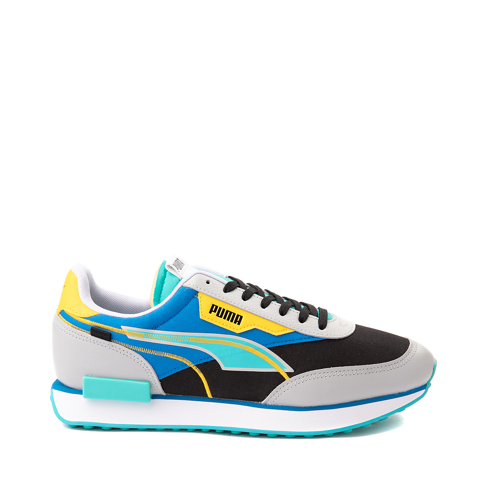 Mens Puma Future Rider Twofold Athletic Shoe - Gray / Black / Blue / Yellow