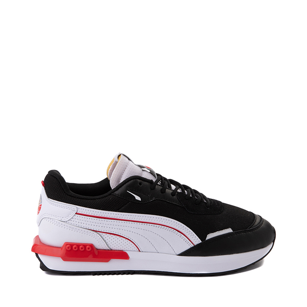 Main view of Mens Puma City Rider Athletic Shoe - Black / White / Red
