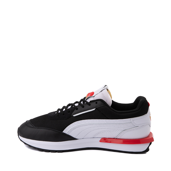 alternate view Mens Puma City Rider Athletic Shoe - Black / White / RedALT1