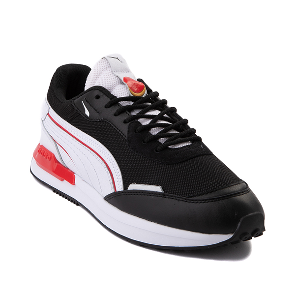 alternate view Mens Puma City Rider Athletic Shoe - Black / White / RedALT5