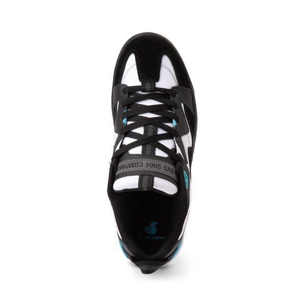 alternate view Mens DVS Devious Skate Shoe - Black / White / TurquoiseALT2