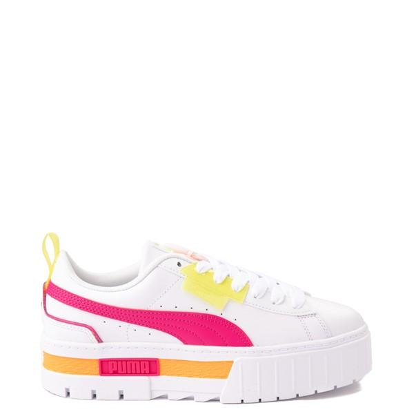 Womens Puma Mayze Platform Athletic Shoe - White / Pink / Yellow