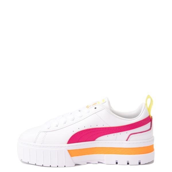 alternate view Womens Puma Mayze Platform Athletic Shoe - White / Pink / YellowALT1