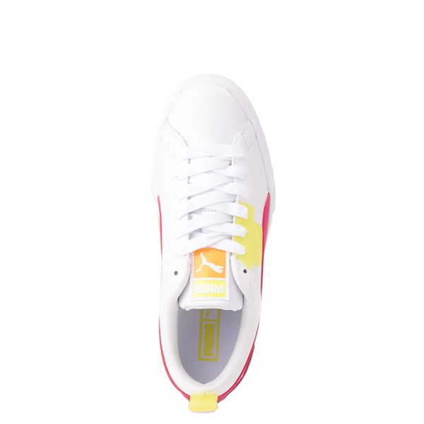 alternate view Womens Puma Mayze Platform Athletic Shoe - White / Pink / YellowALT2