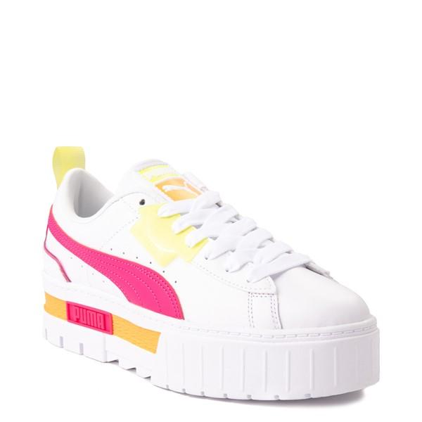 alternate view Womens Puma Mayze Platform Athletic Shoe - White / Pink / YellowALT5