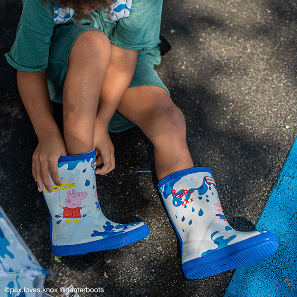 alternate view Hunter x Peppa Pig Kids First Muddy Puddles Rain Boot - Toddler / Little Kid - Dragonfly BlueALT1B