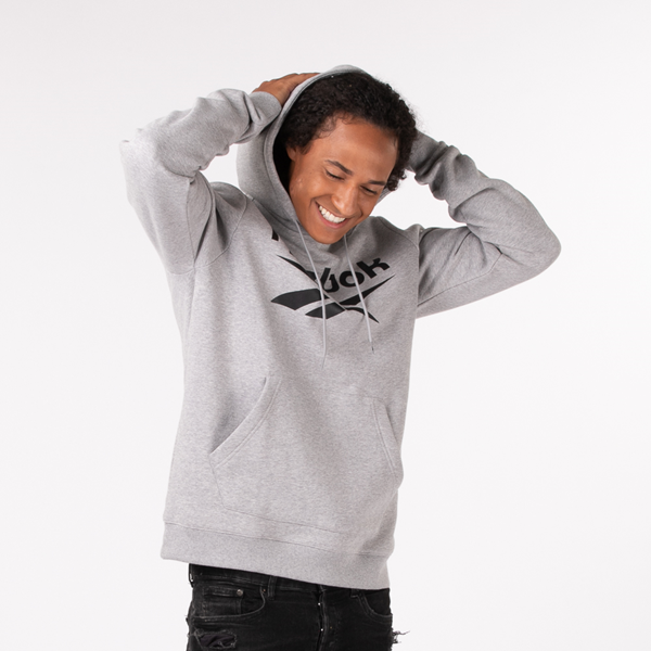 Mens Reebok Identity Logo Hoodie - Heather Gray