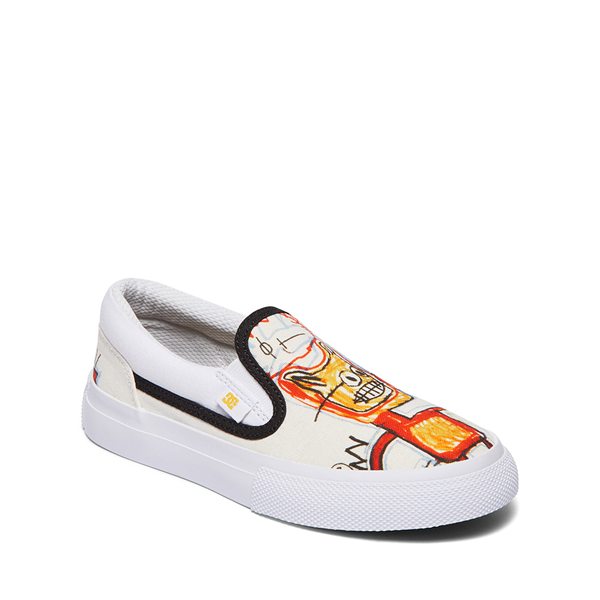 alternate view DC x Basquiat Manual Slip On Skate Shoe - Little Kid / Big Kid - White / MulticolorALT5