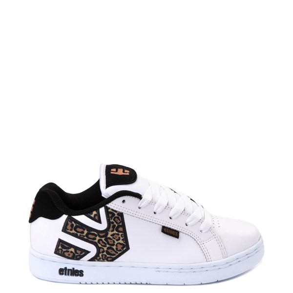 Main view of Womens etnies Fader Skate Shoe - White / Leopard