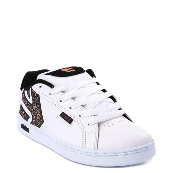 alternate view Womens etnies Fader Skate Shoe - White / LeopardALT5