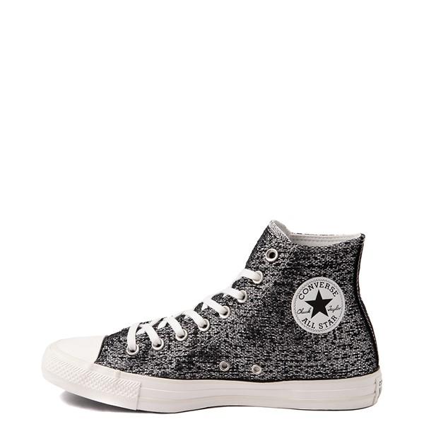 alternate view Womens Converse Chuck Taylor All Star Hi Metallic Shimmer Sneaker - Black / SilverALT1