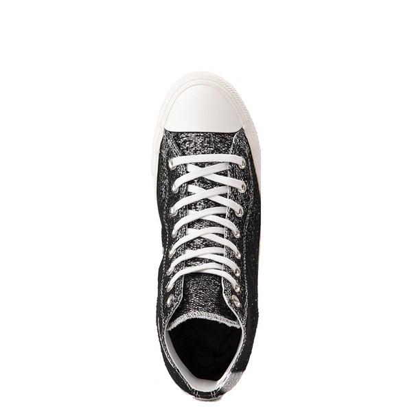 alternate view Womens Converse Chuck Taylor All Star Hi Metallic Shimmer Sneaker - Black / SilverALT2