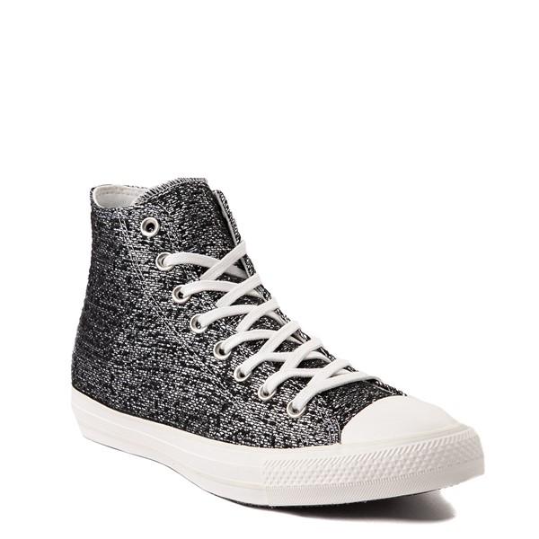 alternate view Womens Converse Chuck Taylor All Star Hi Metallic Shimmer Sneaker - Black / SilverALT5