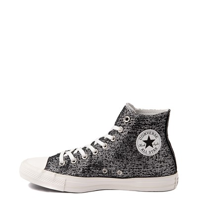 Alternate view of Womens Converse Chuck Taylor All Star Hi Metallic Shimmer Sneaker - Black / Silver
