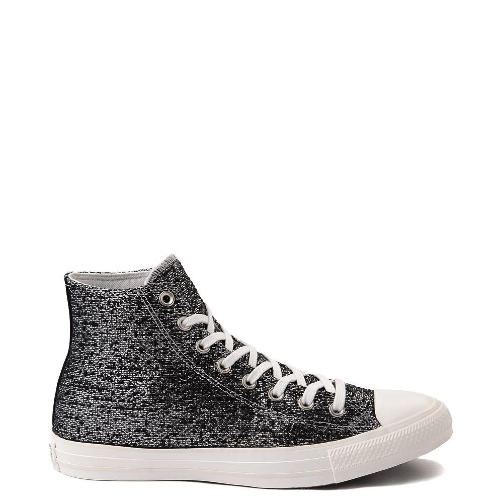 Womens Converse Chuck Taylor All Star Hi Metallic Shimmer Sneaker - Black / Silver