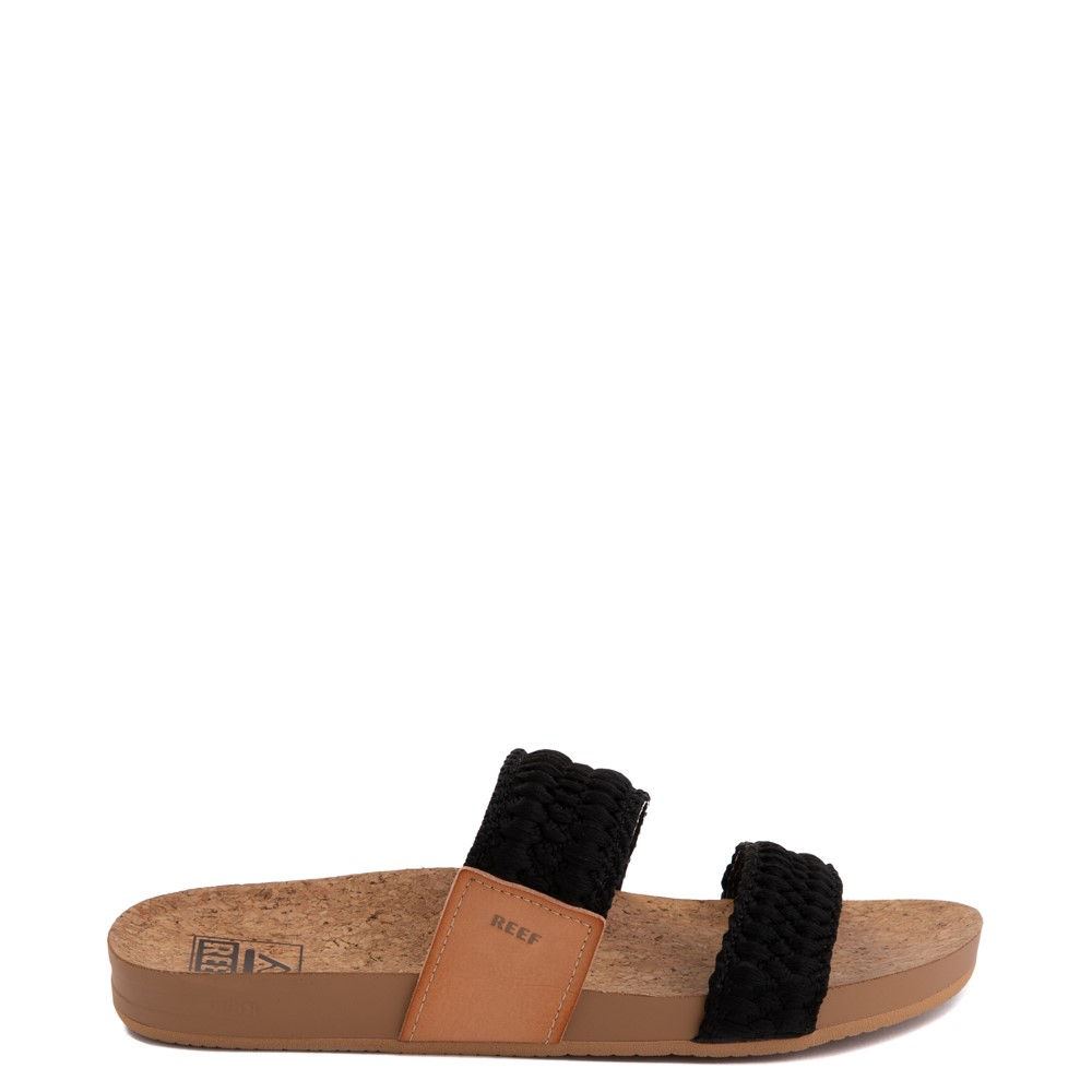 Womens Reef Cushion Vista Thread Sandal - Black