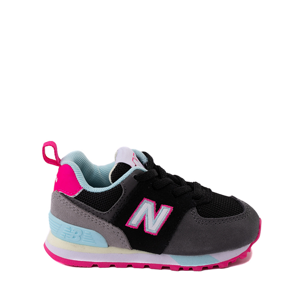 Main view of New Balance 574 Athletic Shoe - Baby / Toddler - Black / Pink Glow