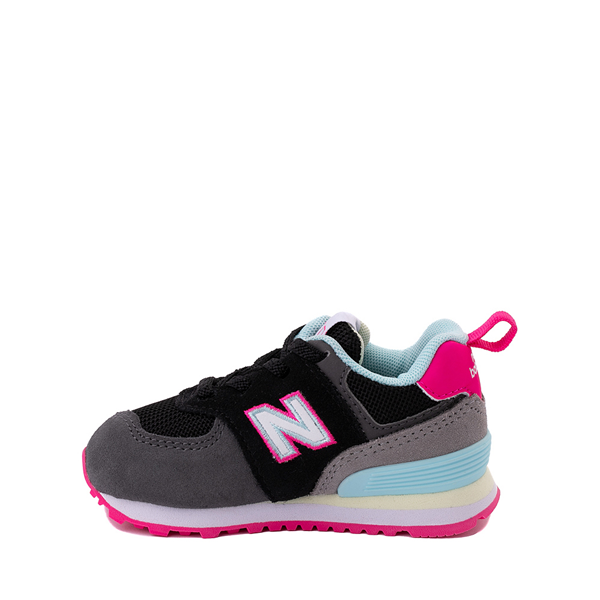 alternate view New Balance 574 Athletic Shoe - Baby / Toddler - Black / Pink GlowALT1