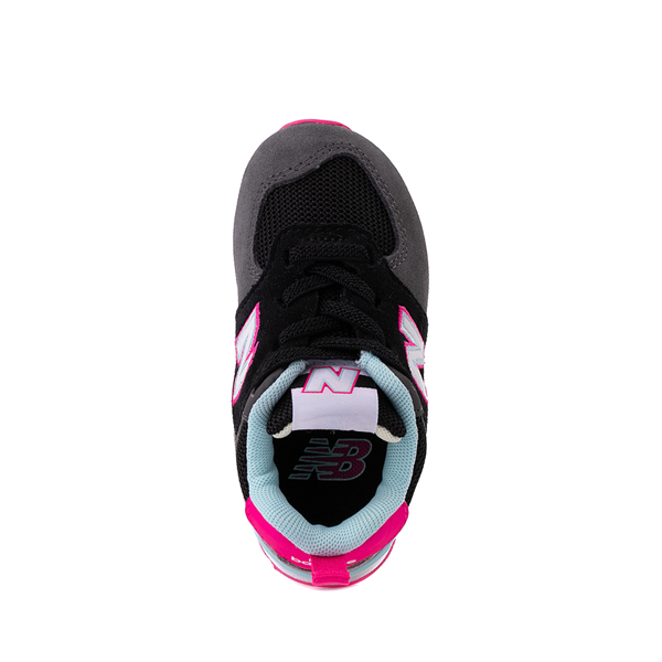 alternate view New Balance 574 Athletic Shoe - Baby / Toddler - Black / Pink GlowALT2