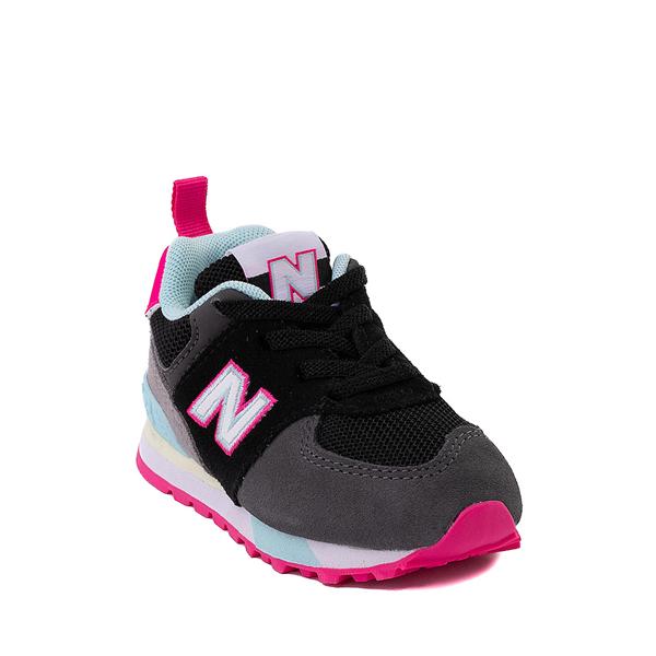 alternate view New Balance 574 Athletic Shoe - Baby / Toddler - Black / Pink GlowALT5