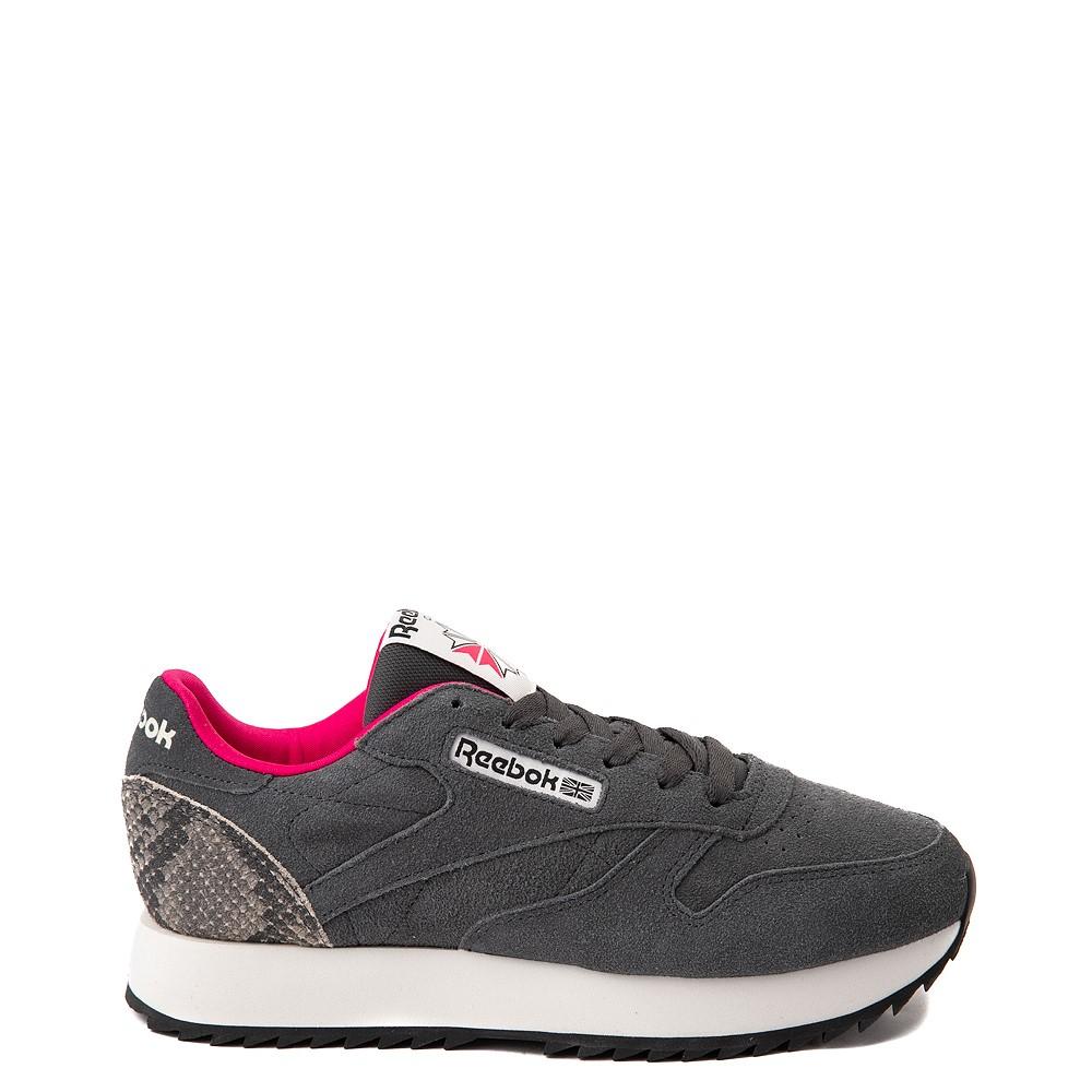 Womens Reebok Classic Leather Ripple Athletic Shoe - Gray / Snakeskin