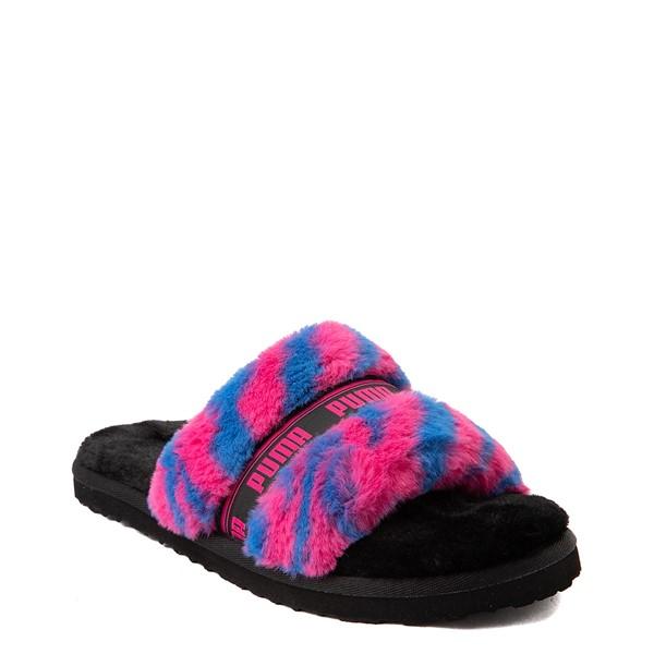 alternate view Womens Puma Fluff Wild Slide Sandal - Black / BeetrootALT5