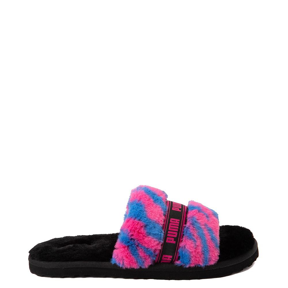 Womens Puma Fluff Wild Slide Sandal - Black / Beetroot
