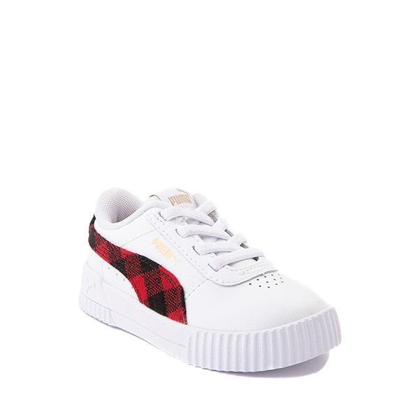 alternate view Puma Carina Athletic Shoe - Baby / Toddler - White / PlaidALT5