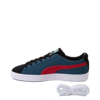 Alternate view of Womens Puma Suede Classic XXI Athletic Shoe - Black / Intense Blue / Urban Red