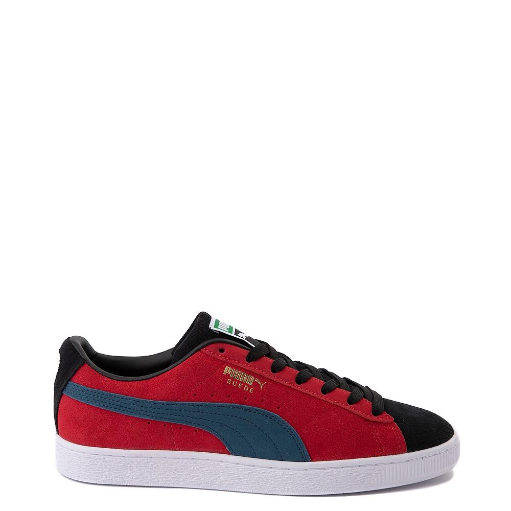 Womens Puma Suede Classic XXI Athletic Shoe - Black / Intense Blue / Urban Red